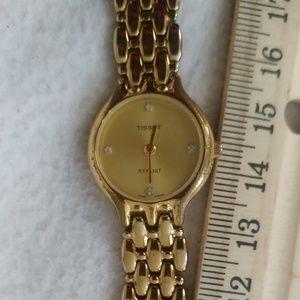 Tissot gold stylist crystal watch